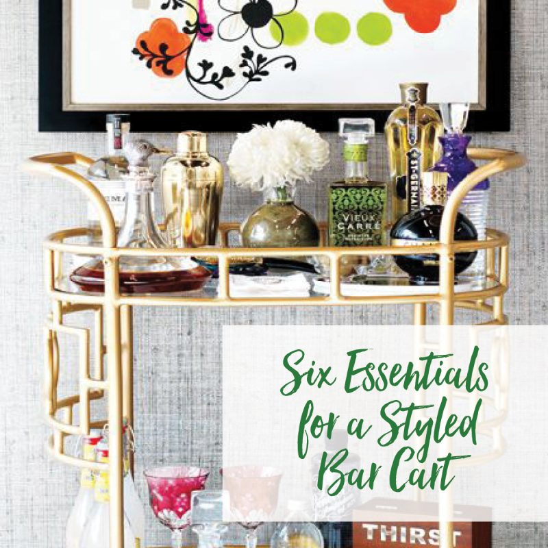 Drink cart or bar cart filled with a selection of drinks